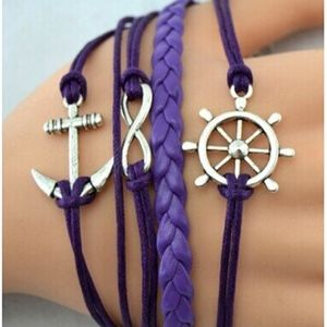 Jewelry - Purple Multilayer Anchor Charm Leather Bracelet